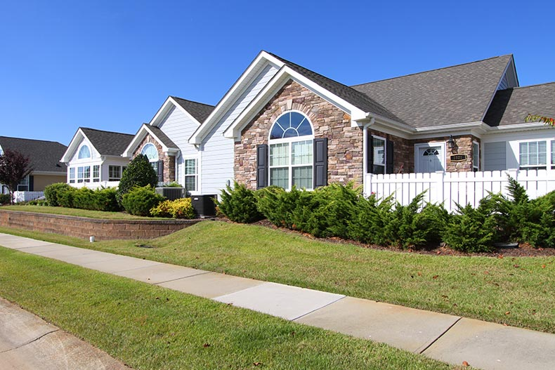 Exterior view of attached homes at The Orchard Villas in Apex, North Carolina