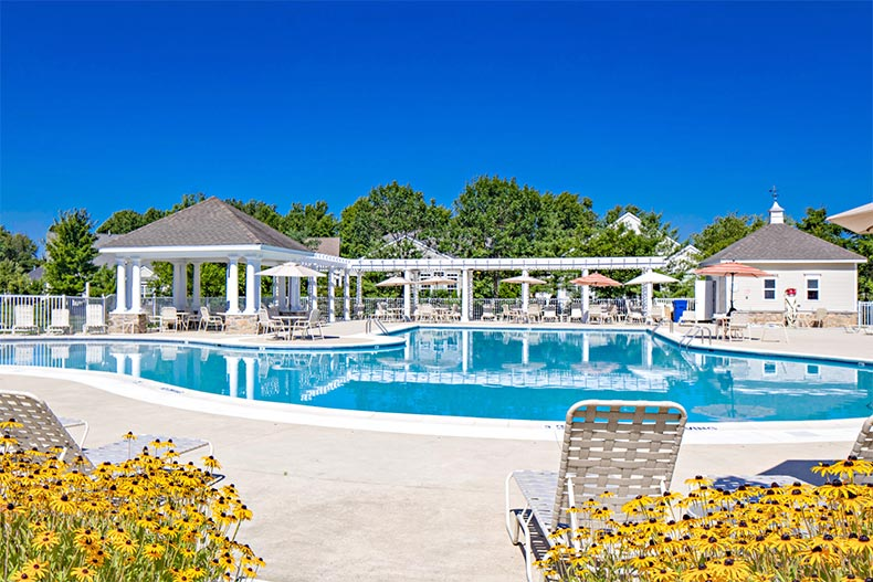 The outdoor pool and patio at The Preserve at Weatherby in Woolwich, New Jersey