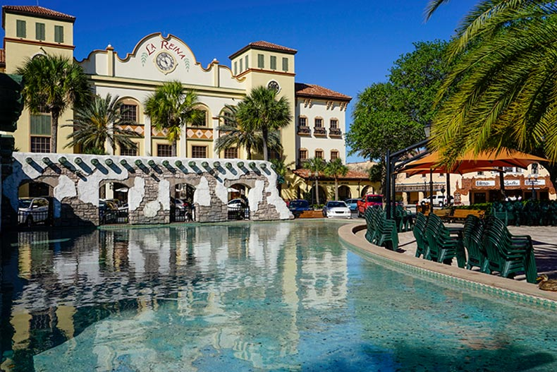 An outdoor water feature and patio at The Villages in Florida