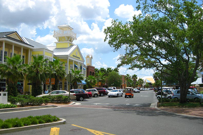 View down a main street in The Villages in Florida