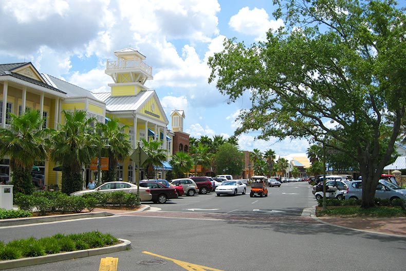 View down a busy main street at The Villages in Florida