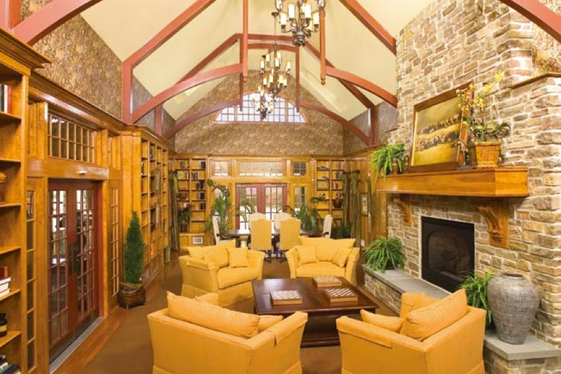 A lounge area in the clubhouse at The Villages at Hillview in Coatesville, Pennsylvania