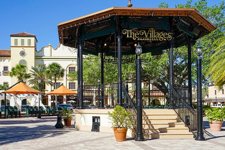 A gazebo in the middle of a town square in The Villages, Florida