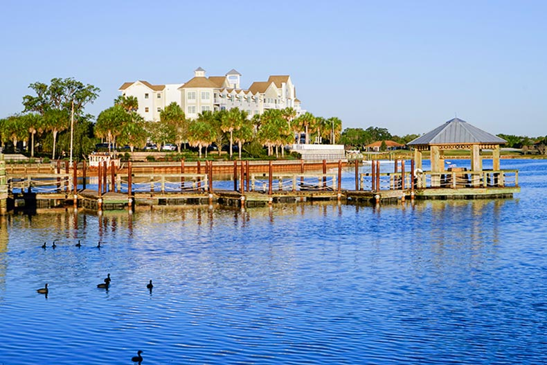 A dock in a picturesque lake at The Villages, Florida