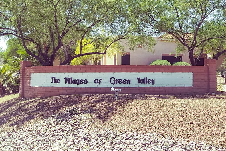 The community sign for The Villages of Green Valley in Green Valley, Arizona