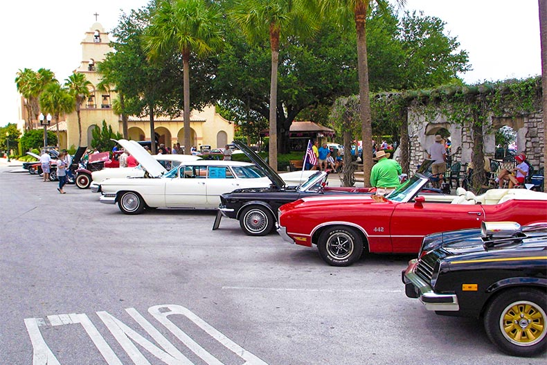 Classic cars lining the streets of The Villages