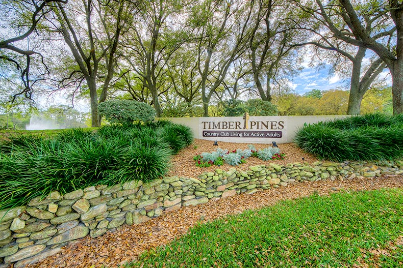 Green, manicured landscaping near the sign to Timber Pines in Spring Hill, Florida