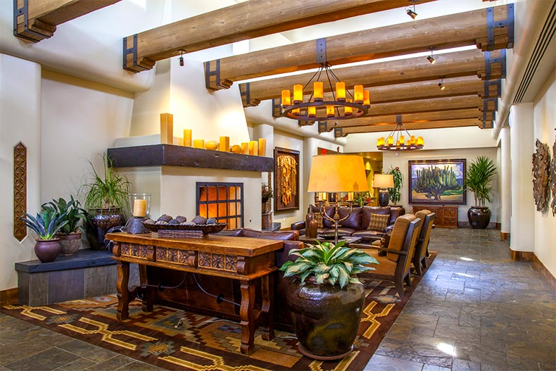 The rustic clubhouse lobby in Tonto Verde, Arizona