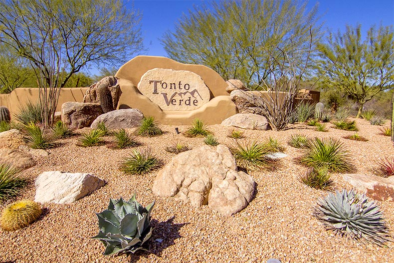 The sign for Tonto Verde on desert landscaping in Rio Verde, Arizona