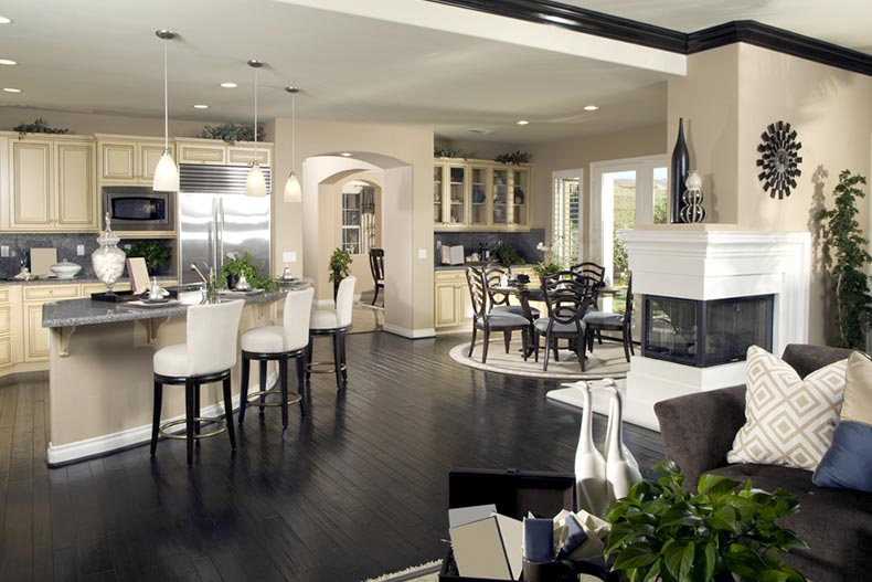 Staged interior of an upscale new construction home model