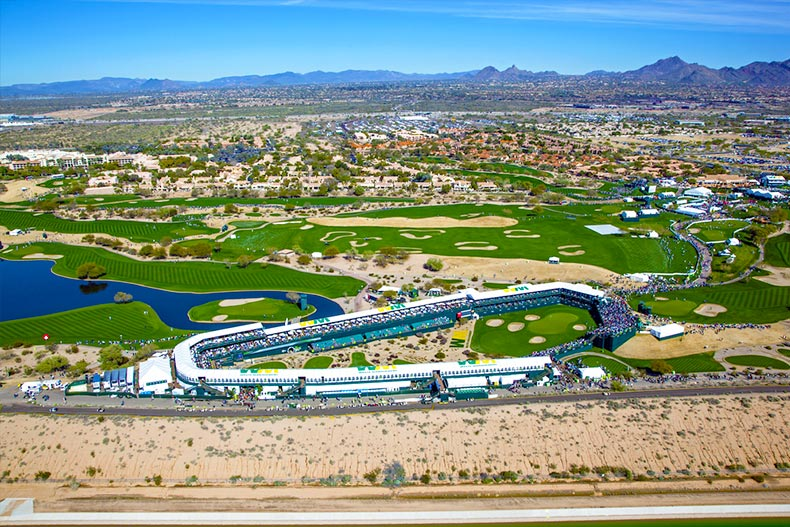 Arial view of TPC Scottsdale golf course in Arizona.