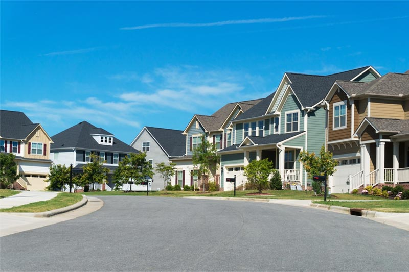 various types of home exteriors in a residential community