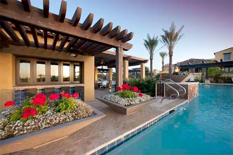 A bar beside the outdoor pool at Trilogy at Encanterra in Queen Creek, Arizona