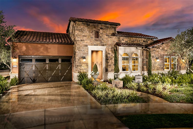Exterior view of a model home at Trilogy at Monarch Dunes in Nipomo, California