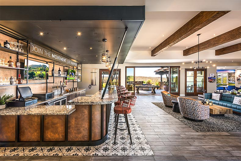 Interior view of the bar and lounge area at Trilogy at Wickenburg Ranch in Wickenburg, Arizona