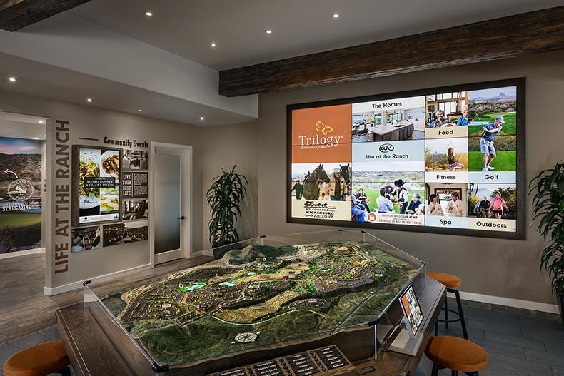 A plat table with a model of the community at Trilogy at Wickenburg Ranch in Wickenburg, Arizona