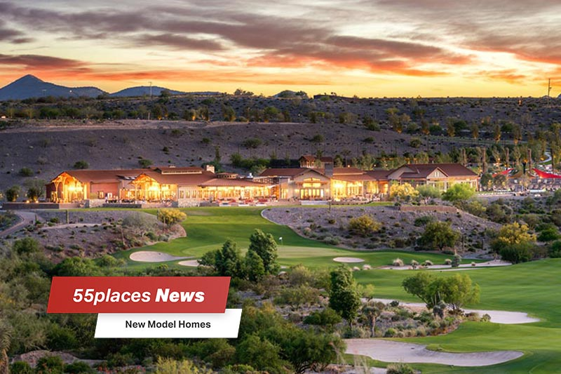 """New Model Homes"" banner over an aerial view of the golf course at Trilogy at Wickenburg Ranch in Wickenburg, Arizona"