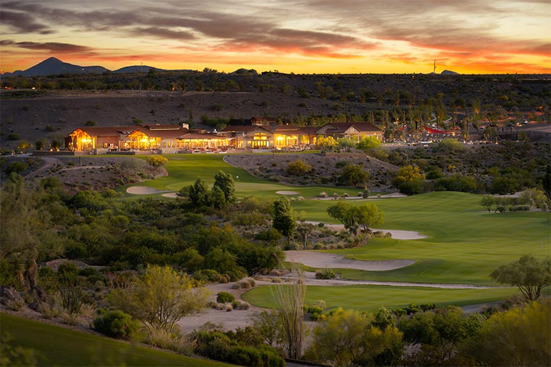 Aerial view of the golf course at Trilogy at Wickenburg Ranch in Wickenburg, Arizona at dusk