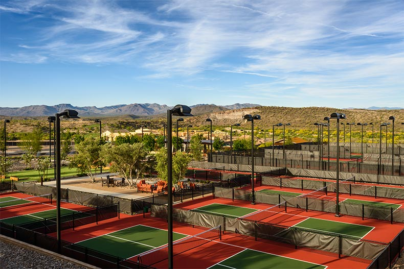 The lighted tennis courts at Trilogy at Wickenburg Ranch in Wickenburg, Arizona
