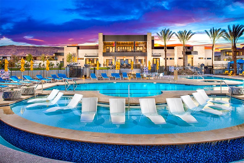 Resort-style pool and clubhouse in Trilogy in Summerlin