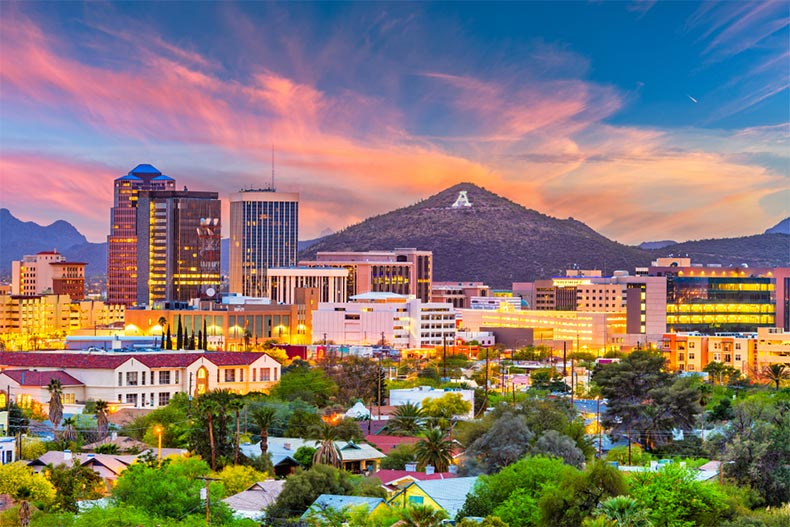 Downtown skyline of Tucson, Arizona with Sentinel Peak in the background