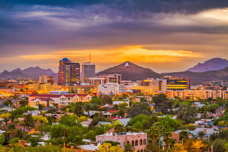 skyline of tucson arizona buildings and geographical eatures