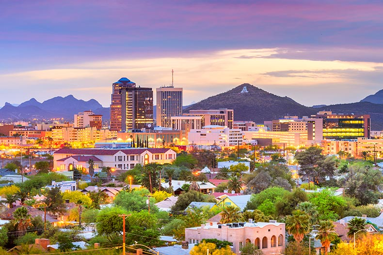 The Downtown Tucson skyline with mountains at twilight