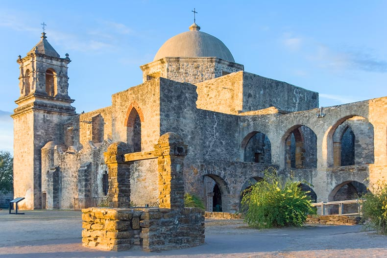 View at sunset of Mission San Jose in San Antonio, Texas