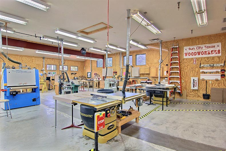 Interior view of the woodshop at Sun City Texas in Georgetown, Texas