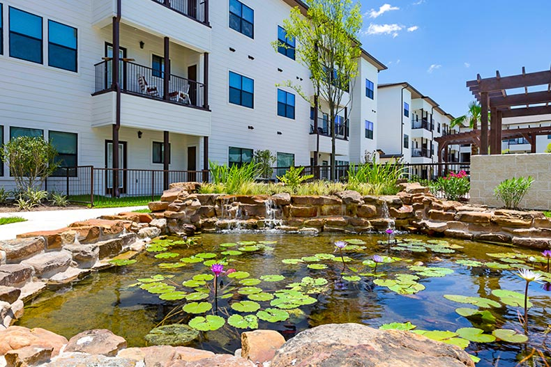 A pond with Lilly pads outside the Soléa Copperfield apartments in Houston, Texas