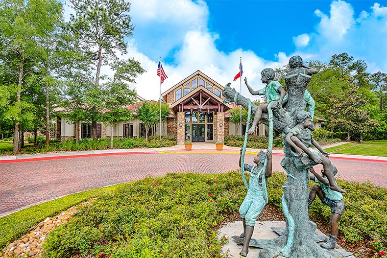 View of the sculpture outside the Windsor Lodge at Windsor Lakes in The Woodlands, Texas