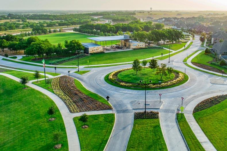 An aerial view of the community grounds at Del Webb at Union Park in Little Elm, Texas