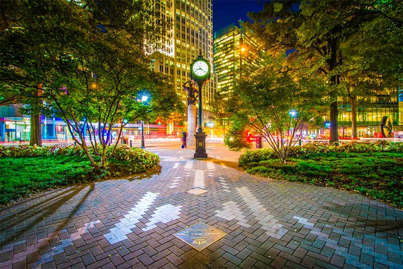 Walking path in Uptown Charlotte at night