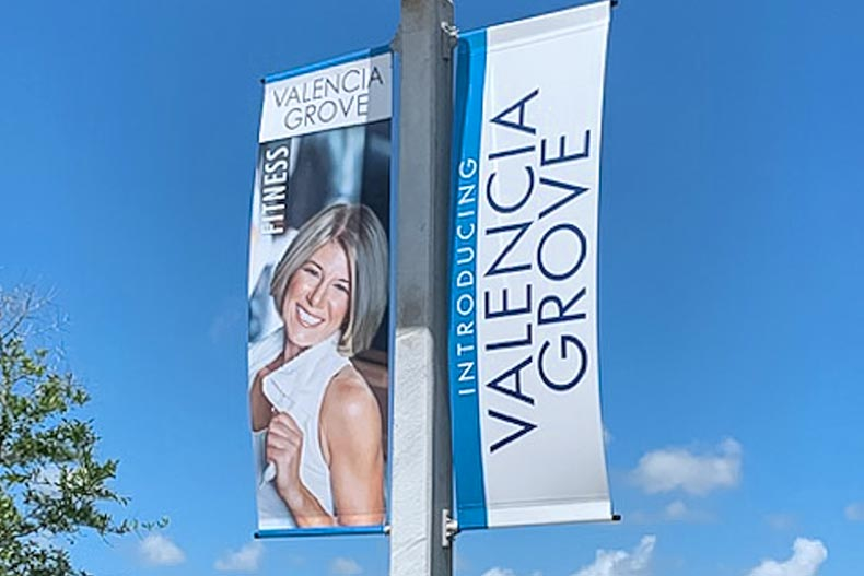 A banner at Valencia Grove at Riverland in Port St. Lucie, Florida