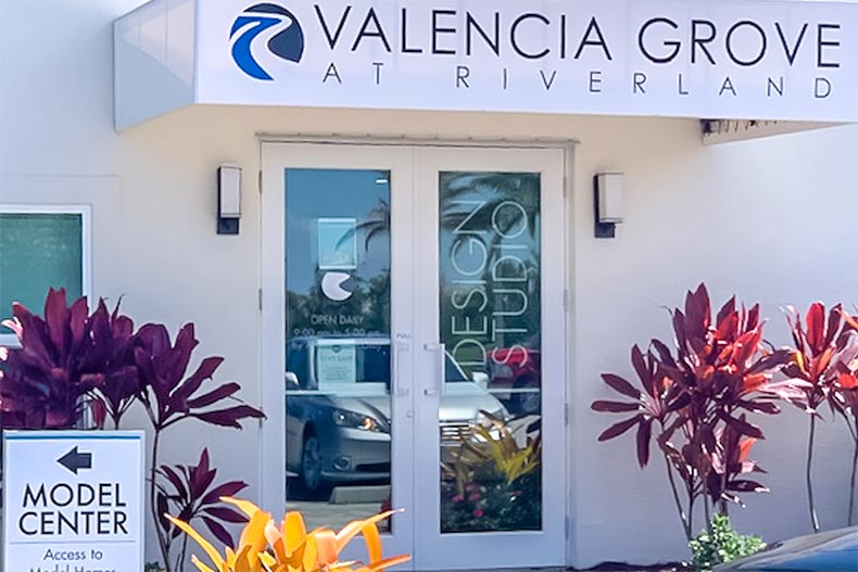 Exterior view of the design studio at Valencia Grove at Riverland in Port St. Lucie, Florida