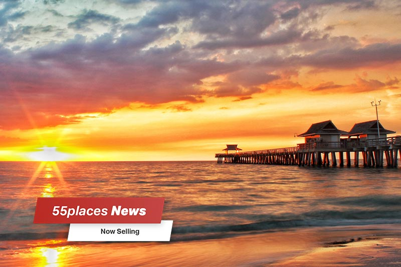 """Now Selling"" banner over a sunset view of the Naples Pier in Naples, Florida"