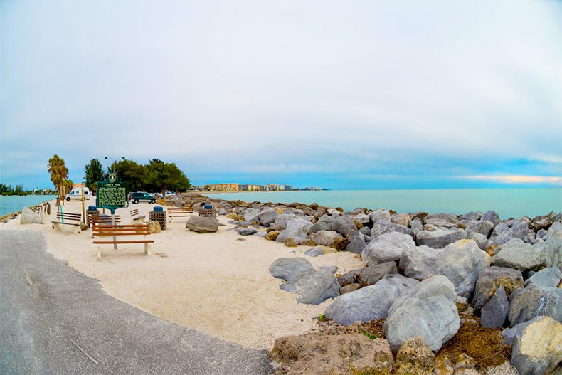 View of the rocks and shore of the South Jetty in Venice, Florida