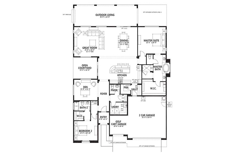 Floor plan layout for the Verso model at Robson Ranch - Arizona in Eloy, Arizona