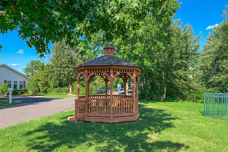 Greenery surrounding a gazebo at Village of Willow Run in Royersford, Pennsylvania