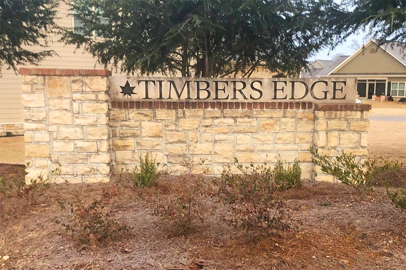 The community sign for Villas at Timbers Edge in Brownsboro, Alabama