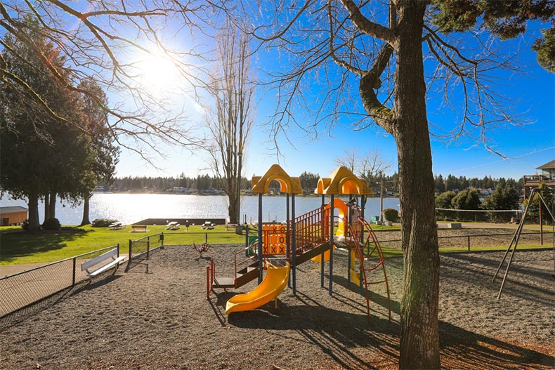 A blue sky over a park with a children's playground in Bonney Lake, WA