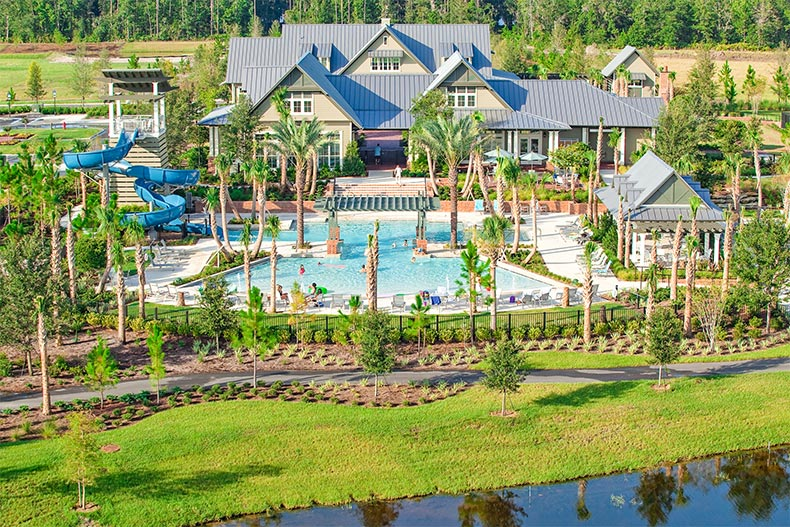 Aerial view of the clubhouse and resort-style pool at WaterSong at Rivertown in St. Johns, Florida