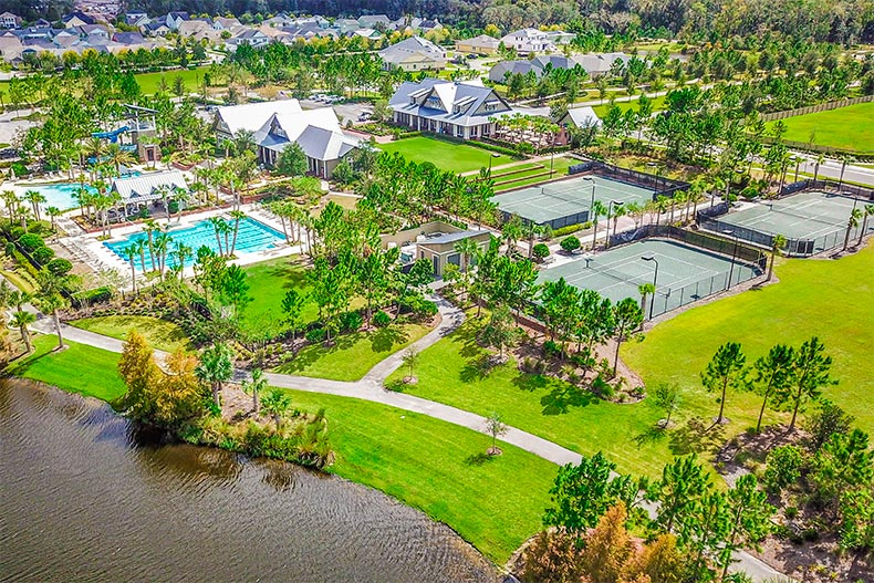 Aerial view of the amenities in WaterSong at RiverTown