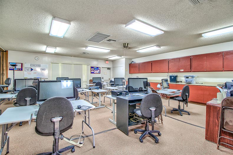 Interior view of the computer lab at Westbrook Village in Peoria, Arizona