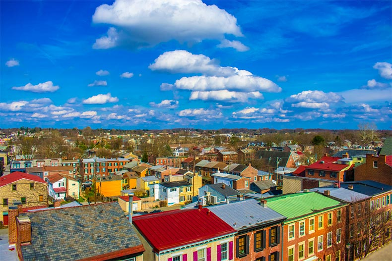Aerial view of colored roofs under blue skies in West Chester, PA