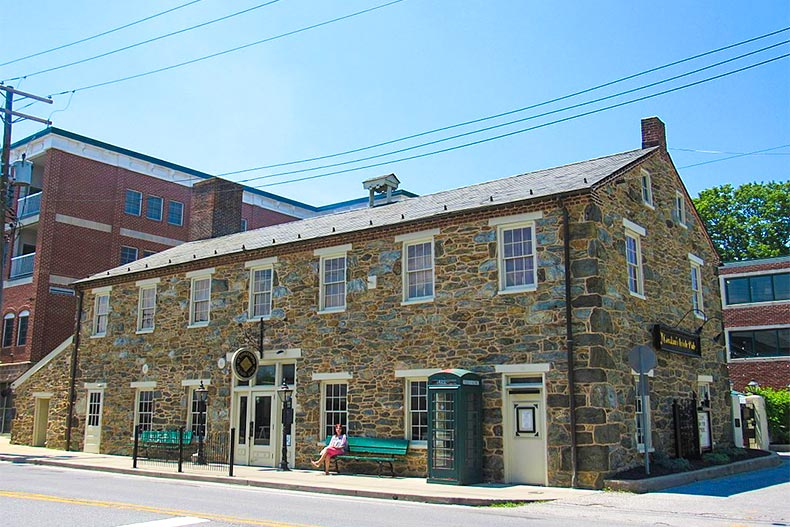 Exterior of old building found in downtown Westminster, Maryland