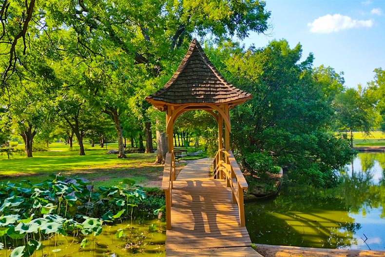 Vibrant greenery surrounding a wooden pedestrian bridge over a small stream in Wichita Falls, Texas