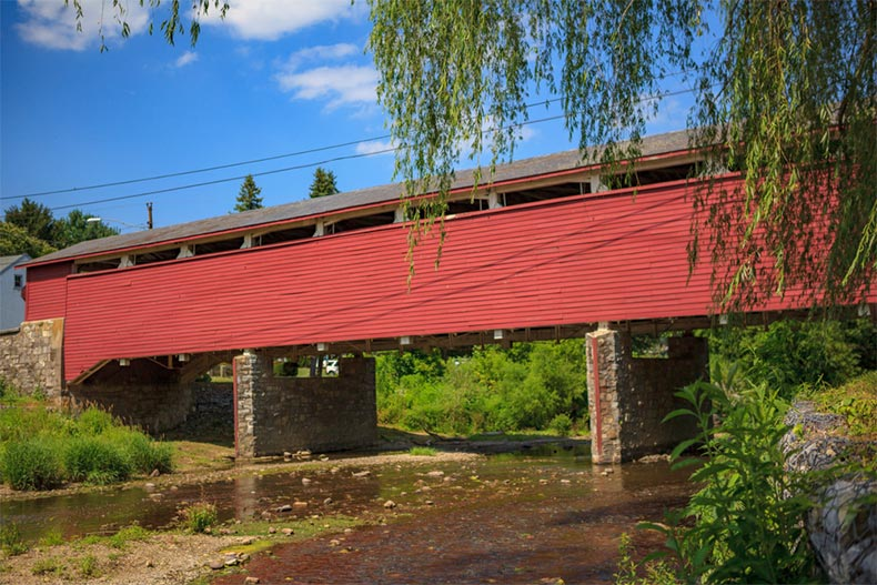 The Wehr Covered Bridge in South Whitehall Township, Pennsylvania