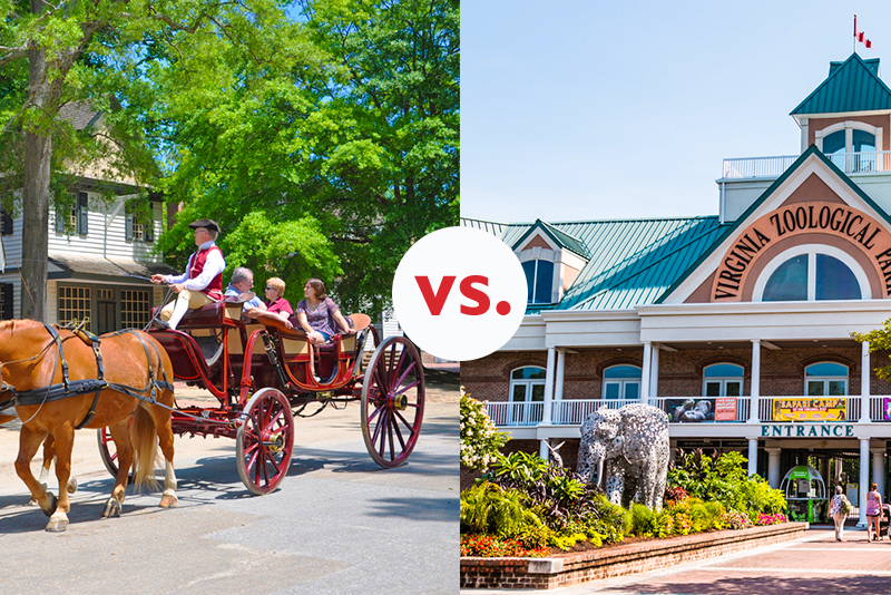 Horse and buggy in Williamsburg and entrance of Norfolk Zoological Park