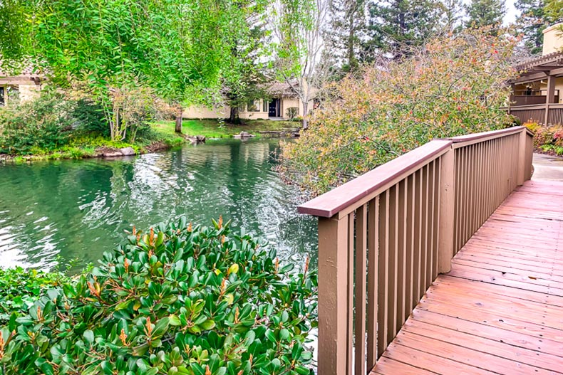 A bridge over a picturesque pond at Willowbrook in Napa, California